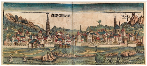 Holzschnitt von Wien aus der Schedel'schen Weltchronik, Blatt 98v/99r, This work is in the public domain in its country of origin and other countries and areas where the copyright term is the author's life plus 100 years or less.